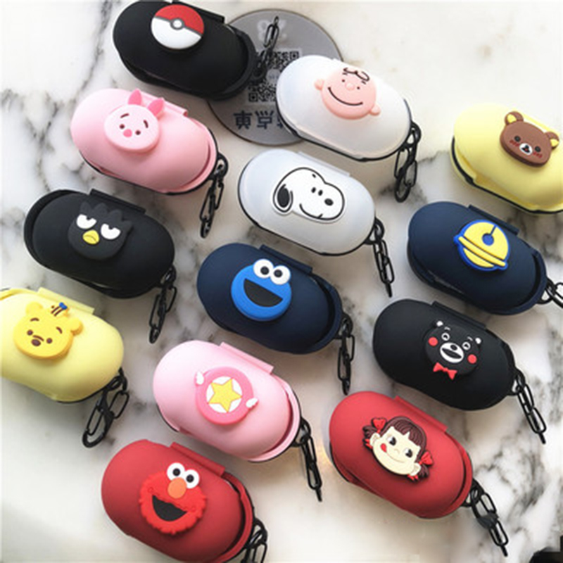 Cute Cartoon Silicone Protective Case Cover For Samsung Galaxy Buds 2019 Earphone Flip-open Silicone Case With Carabiner