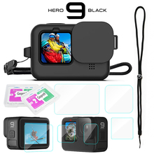 Custodia protettiva in Silicone per GoPro Hero 9 pellicola proteggi schermo in vetro temperato nero copriobiettivo per accessorio Go Pro 9
