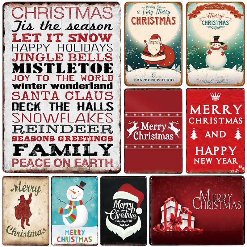 Buon Natale Placca di Metallo Arredamento Vintage Segno di Metallo Targa In Metallo In Metallo Poster metallo Piatto di Casa Bar Pub Decorazione Manifesti D'epoca