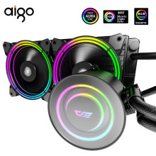 Aigo Pc Fan Waterkoeling Computer Cpu 120Mm Fan Rgb 12V Spiegel Koud Hoofd Water Cooler Cooling Geïntegreerde waterkoeling Radiator(China)