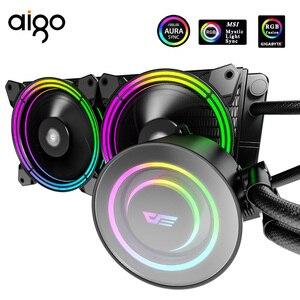 Aigo TR240 PC CPU Cooler Water Cooling Cooler 120mm Fan Rgb Fan 12V Mirror Pump Aura Sync Water Cooler CPU LGA 115X/2011/AM4