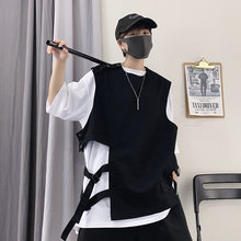 2020 Summer Men irregular side ribbons drawstring vest vintage punk hip hop sleeveless jacket man Korean style waistcoat