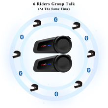 חדש 6 רוכבים Bluetooth Moto rcycle קסדת אינטרקום FM רדיו קסדה עמיד למים Moto האינטרפון תאימות Vi moto סנה אוזניות