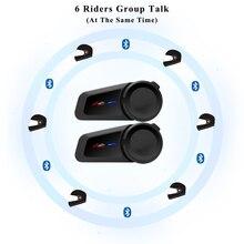 Neue 6 Fahrer Bluetooth Moto rcycle Helm Intercom FM radio Helm Wasserdichte Moto Sprech Kompatibilität Vi moto SENA Headsets