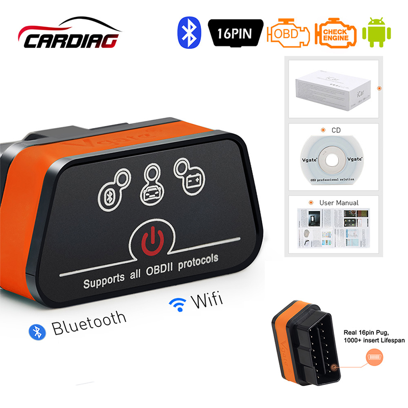 Vgate Wifi iCar2 OBDII Elm327 Supports all OBDII protocols Code Reader for IOS iPhone iPad Android PC Black
