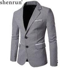 Shenrun 男性ファッション千鳥格子ジャケットカジュアルブレザーノッチラペルシングルブレスト 2 ボタンスーツジャケットビジネスパーティーブレザー