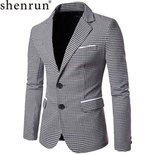 Shenrun Men Fashion Houndstooth Jacket Casual Blazer Notch Lapel Single Breasted 2 Buttons Suit Jackets Business Party Blazers