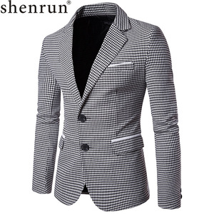 Image 1 - Shenrun Men Fashion Houndstooth Jacket Casual Blazer Notch Lapel Single Breasted 2 Buttons Suit Jackets Business Party Blazers