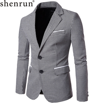 Shenrun Men Fashion Houndstooth Jacket Casual Blazer Notch Lapel Single Breasted 2 Buttons Suit Jackets Business Party Blazers allenjoy photography backdrop frozens wonderland forest snow queen birthday fairy tale party deco photo background photophone