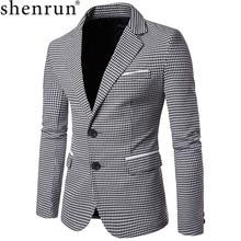Shenrun hombres moda Houndstooth chaqueta Casual Blazer muesca solapa solo Breasted 2 botones traje chaquetas negocios fiesta Blazers