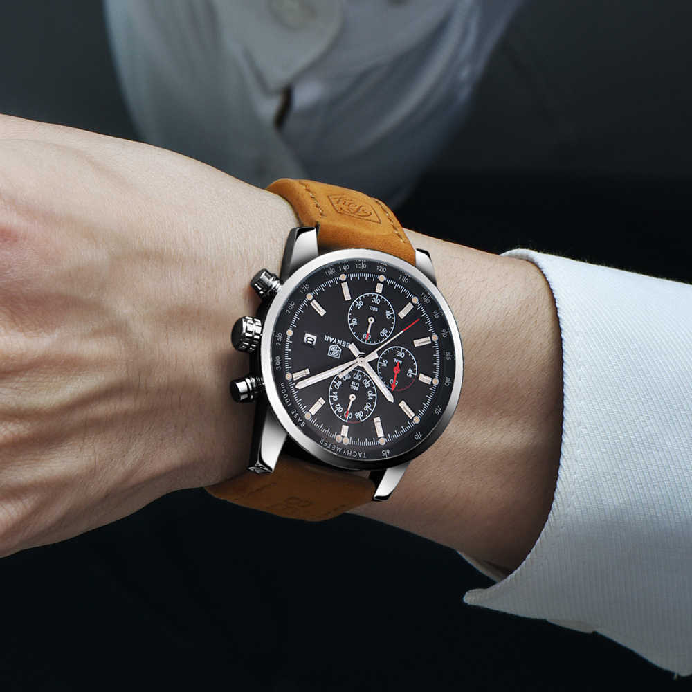 BENYAR ファッションクロノグラフスポーツメンズ腕時計トップブランドの高級クォーツ時計リロイ Hombre saat 時計男性時間レロジオ Masculino