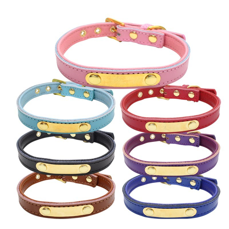 New Style Iron Piece Laser Lettering Neck Ring Anti-Lost Bite-proof Protector Genuine Leather Double Layer Covered Edge Comforta