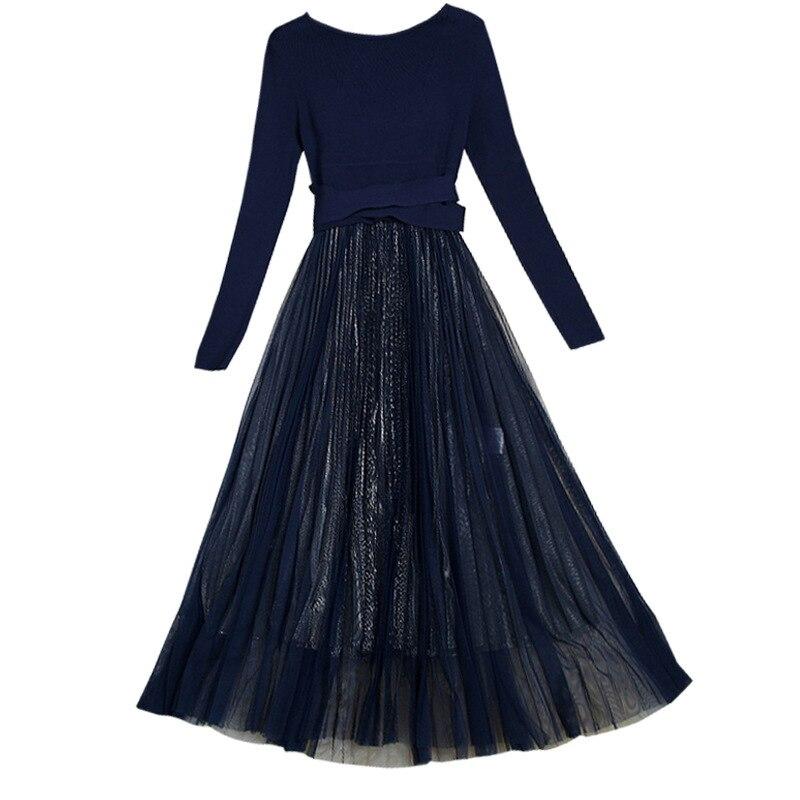 Nuovo 2019 autunno inverno maglia della rappezzatura della maglia del vestito a maniche lunghe fit e flare midi abiti nero blu - 5