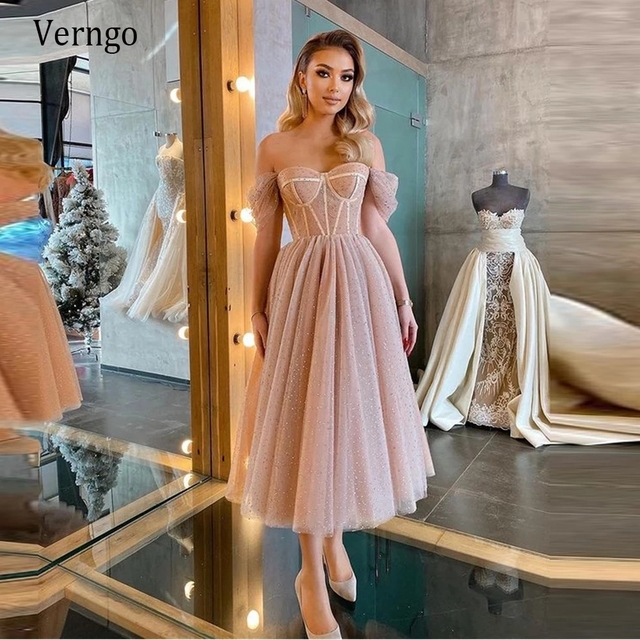 Verngo Dusty Pink Dotted Tulle Evening Party Dresses Off the Shoulder Corset Short Prom Dress Tea Length Midi Formal Wear Gown 1