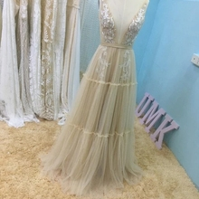 Wedding-Dress Bridal-Gowns Open-Back Sleeves Lace Bohemia Beach Tassel UMK Chic V-Neck