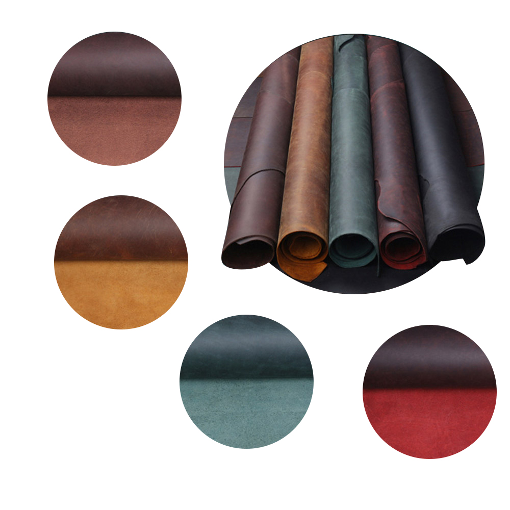 2.0mm Cowhide Oil tanned Crazy horse 2.0mm Vegetable Tanned leather craft Diy material retro Pull up style Handmade Art image