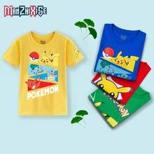 Limited Time Discount Basic White Tees Shirts Boy Tshirt Fashion Cotton Half Sleeve Brand T-Shirt  Pikachu Printing Kids Tees