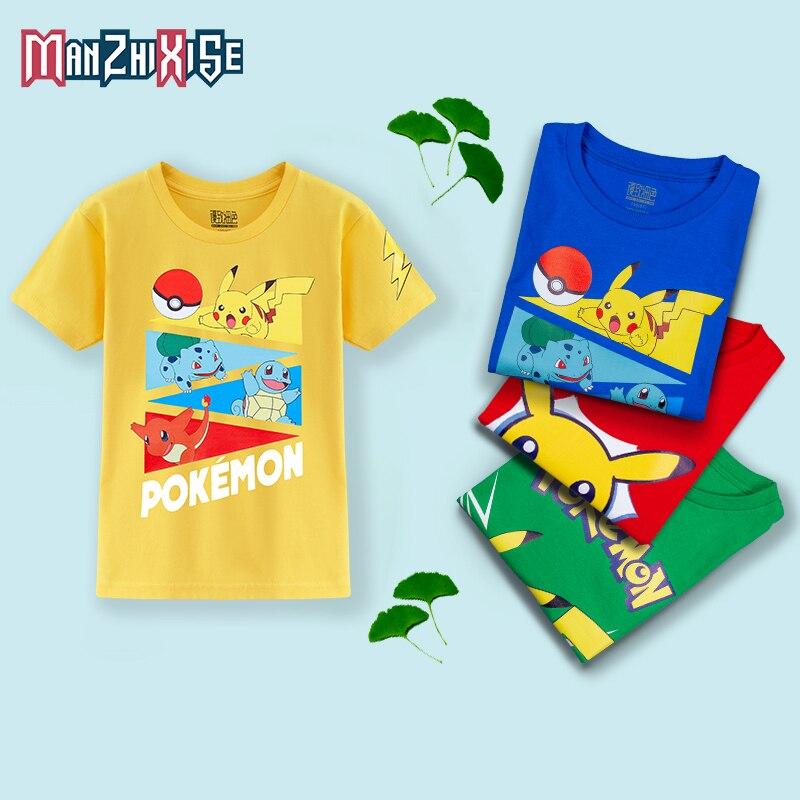 Tempo limitado desconto básico camisetas brancas menino camiseta moda algodão meia manga marca camiseta pokemon impressão crianças t
