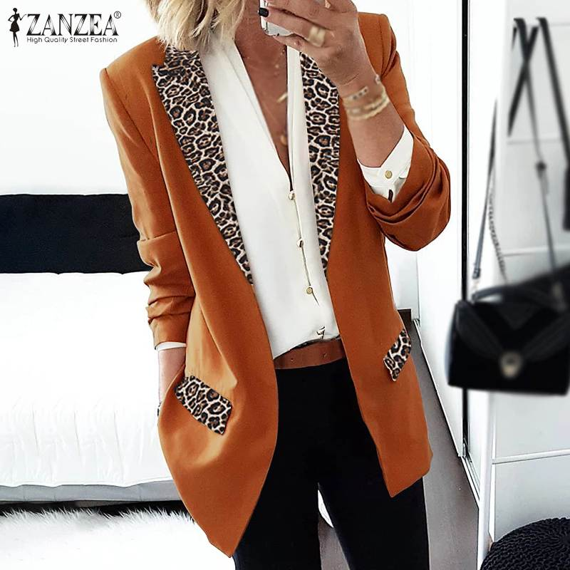 ZANZEA Women's Blazers 2020 Fashion Ladies Patchwork Leopard Lapel Collar Blazers Casual Thicken Coats Bussiness Jackets Outwear