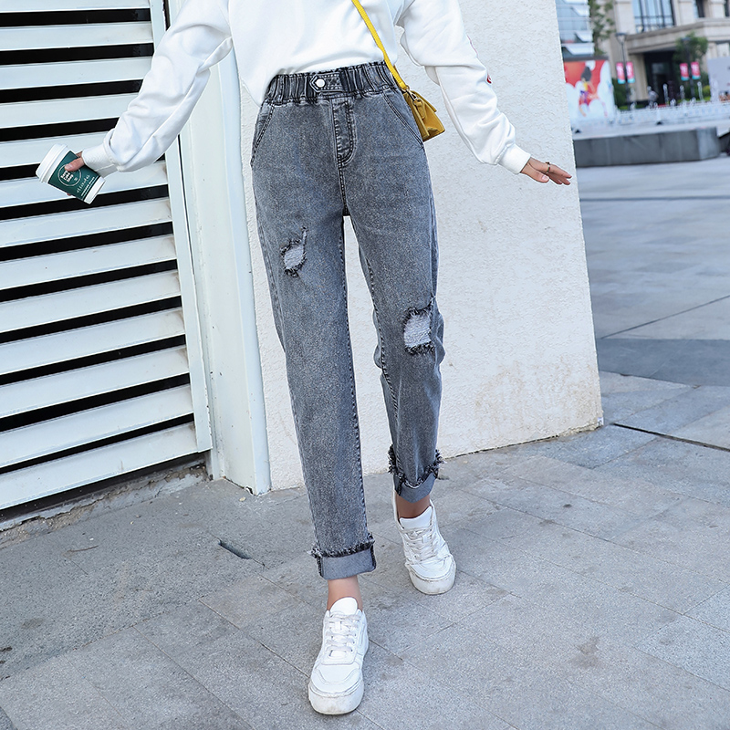 Zogaa 2019 Women Jeans High Elastic Stretch Jeans Girl Washed Denim Skinny Female Ankle Ripped Pants Stretch Streetwear Trousers