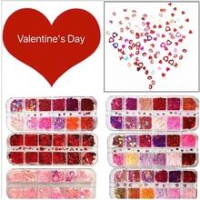 12グリッド/セットバレンタイン愛のスパンコール赤スーツ、唇、混合サイズネイルグリッターフレーク3Dスパンコールネイルアート装飾マニキュアツール