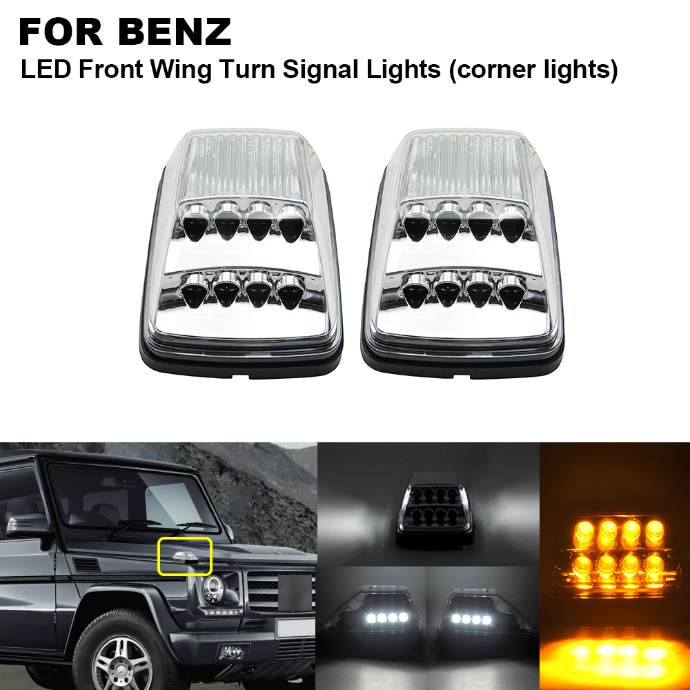 2pcs Clear Front Wing LED Turn Signal Corner Light Amber For Benz Mercedes G-Class W463 G500 <font><b>G55</b></font> <font><b>AMG</b></font> G550 White Position Lights image