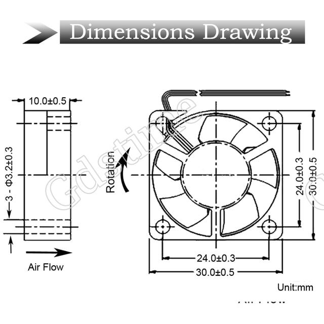 5 piezas Gdstime 24V DC 12V 5V 3cm 30x30x10mm 2Pin rodamiento de bolas portátil ventilador de refrigeración de Dupont 2,54 2,0 30mm x 10mm x 10mm enfriador 3010