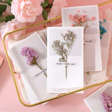 5pcs Gypsophila Dried Flowers Blessing Greeting Card Handwritten Invitations Postcards For Wedding Birthday Party Decor Supplies