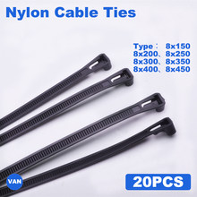 Attaches de câble jetables à fermeture éclair, 20 pièces, en plastique, couleur noir et blanc, 8mm x 150mm/200mm/250mm/300mm/350mm/400mm/450mm