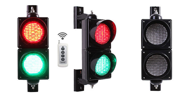 remote control 4-inches-100mm-LED-Traffic-Light-Lamp-Red-Green-Traffic-Signal-Light-Parking-Lot-Signal-Entrance in