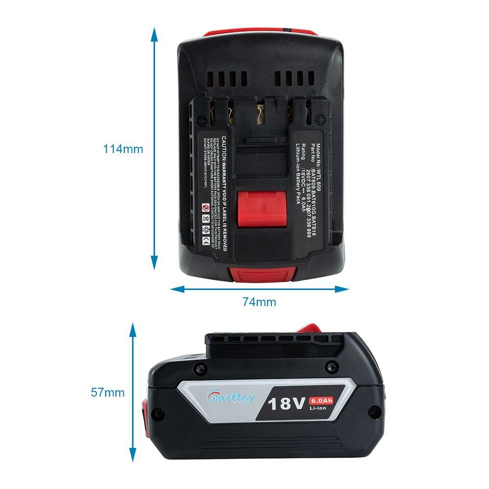 Waitley 18V 6.0A Rechargeable Li-ion batterie pour Bosch 18V outil électrique de secours 6000mah Portable remplacement BAT609 indicateur lumineux - 6