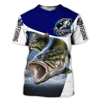 Bass blue and white Fishing T Shirt All Over Print