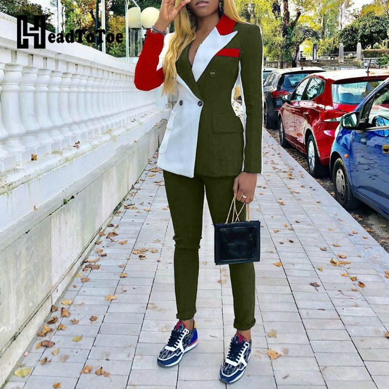 Colorblock Notched Collar Double-breasted Blazer & Pants Sets Workwear Women Casual 2 Piece Set Outfits