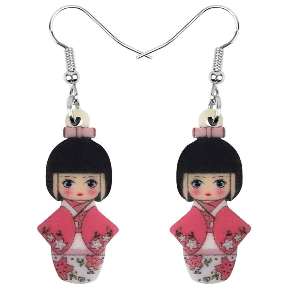 Bonsny Acrilico Giapponese Fiore Bambola Del Kimono Della Ragazza Orecchini di Goccia Ciondola I Monili Per Le Donne Ragazze Adolescenti Bambini Pendenti E Ciondoli Regalo Accessori