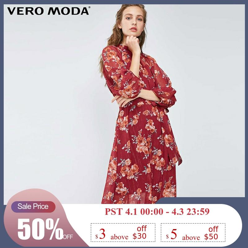 Vero Moda New Arrivals Glittery Stitches Balloon Sleeves Back Neck Cut-outs Printed Long Dress | 31847C505