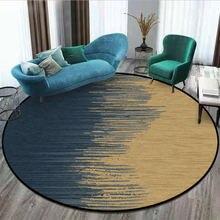 Коврики и ковры для дома, гостиной, скандинавский абстрактный синий золотой узор, нескользящий круглый ковер, Рождественский ковер, полиэстер