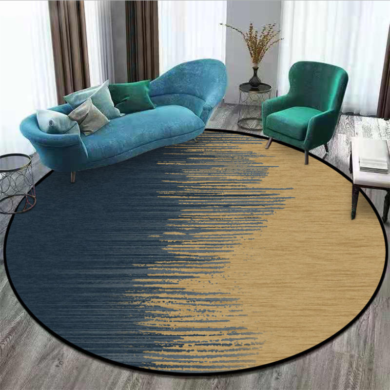 Rugs And Carpets For Home Living Room Nordic Abstract Blue Gold Pattern Non-slip Round Carpet Christmas Rug 100% Polyester