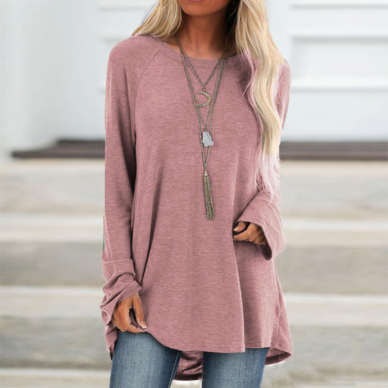 2019 Autumn Women Plus Size Tops Loose Shirt Casual Round Collar Long Sleeve Tunic Solid Color Midi Long Womens Tops And Blouses