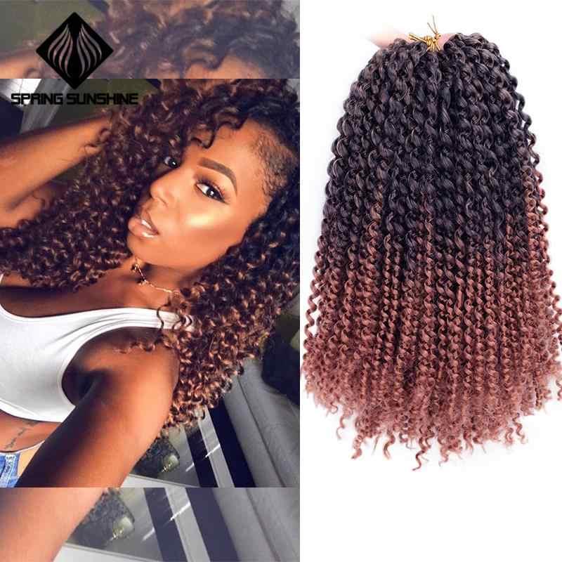 Extensiones de pelo sintético Marley, trenzas trenzadas de ganchillo estilo bohemio, de 14 pulgadas, rizado Afro, para mujer