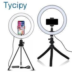 Image 1 - 6/8/10 אינץ LED Selfie טבעת אור צילום Selfie טבעת תאורה איפור וידאו חי עם חצובה Stand סטודיו טבעת מנורה