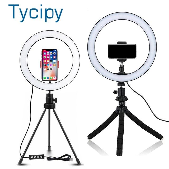 6/8/10 אינץ LED Selfie טבעת אור צילום Selfie טבעת תאורה איפור וידאו חי עם חצובה Stand סטודיו טבעת מנורה
