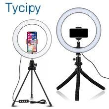 6/8/10 cal LED Selfie lampa pierścieniowa fotografia Selfie lampa pierścieniowa ing do makijażu wideo na żywo z stojak trójnóg Studio lampa pierścieniowa