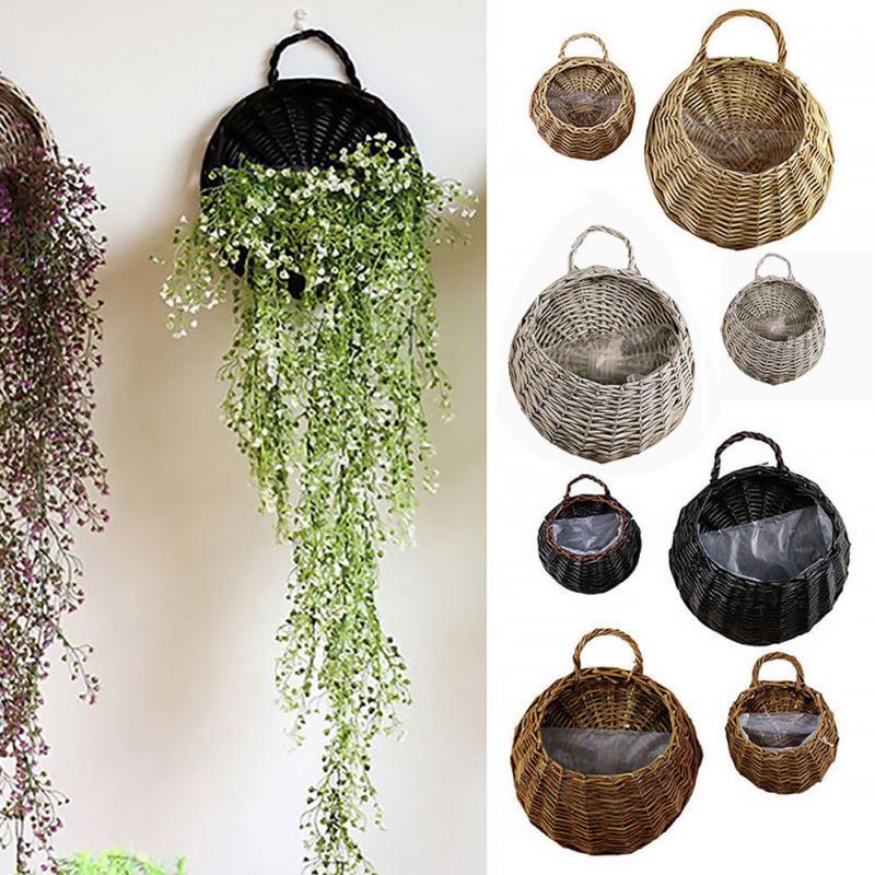 Hand Made Wicker Rattan Flower Basket Green vine Pot Planter Hanging Vase Container Wall Plant Basket For Garden