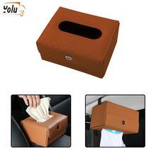 YOLU Tissue Box PU Leather Car Napkin Holder Sun Visor Hanging Storage for car Universal Seat Accessories