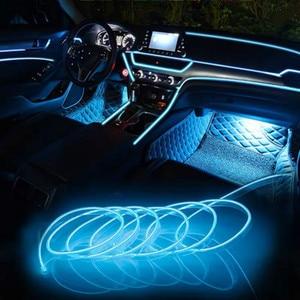 Image 2 - JURUS bande de lumière dambiance pour moto, 5M, 10 couleurs, éclairage dambiance, ligne froide EL, moulage Flexible pour lintérieur
