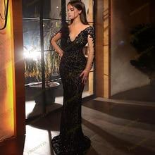 Женское вечернее платье с длинным рукавом элегантное черное