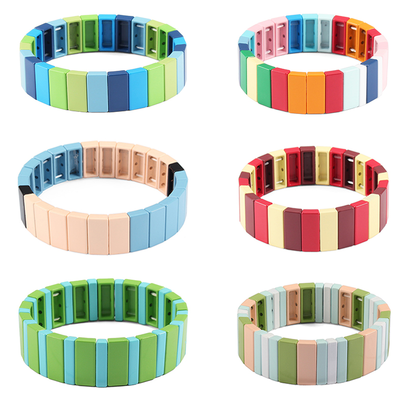 Rainbow Tile Bracelet Colorful Painted Stretch Bracelet Stretchy Turquoise Enamel DIY bead 1pcs,Enamel Tile bead Eyes Beads Bracelet