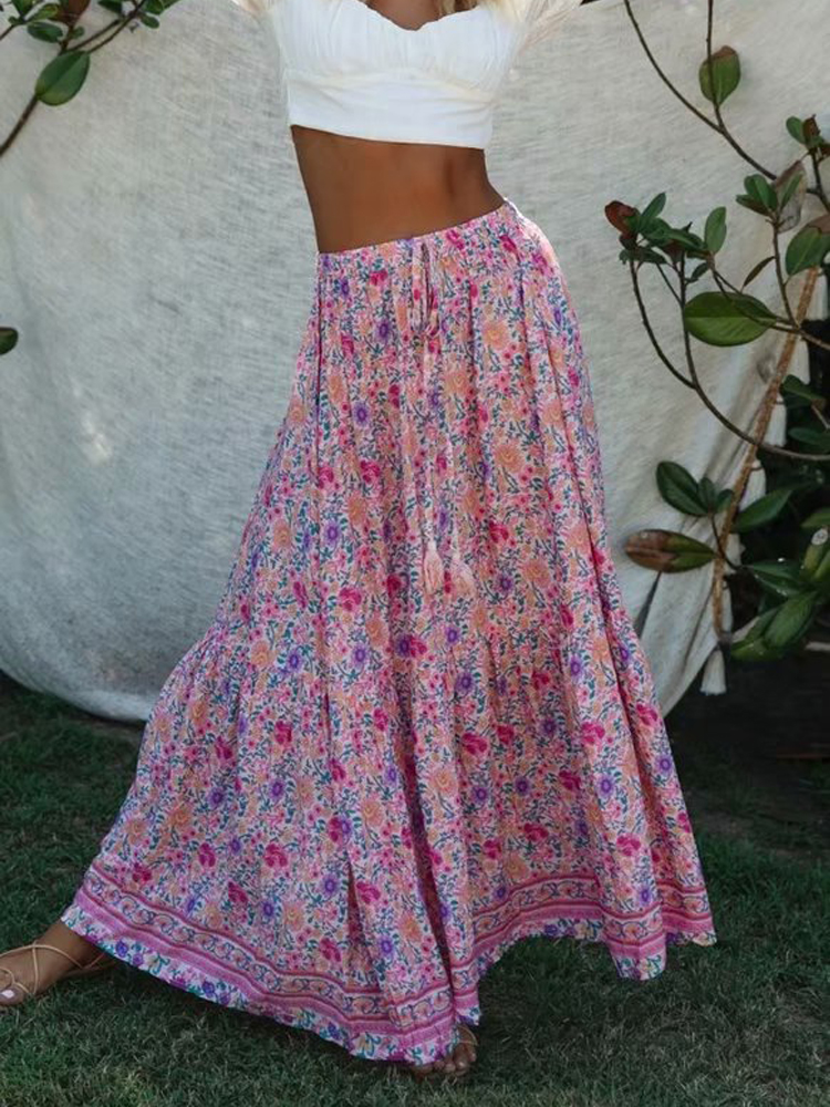 KIYUMI Boho Floral Printed Skirt High Waist Split Maxi Rayon Skirt Vintage Women Beach Loose Casual 2019 Summer Long Pink Skirts