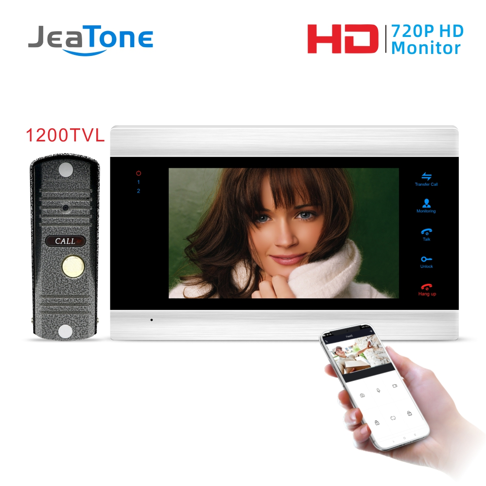 JeaTone New 7 Inch WiFi Smart IP Video Door Phone Intercom System With 1x1200TVL Wired Doorbell Camera,Support Remote Unlock