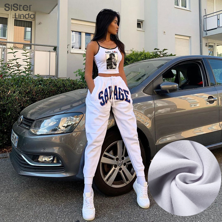 Sisterlinda Letter Print Streetwear Pant Sweatpants Women High Waist Drawstring Jogger Pants Dancing Trousers For Women 2020 New